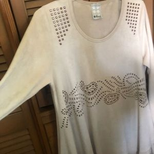 Vocal washable tan suede top with fringe XL